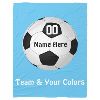 Personalized Soccer Fleece Blanket in Your Colors