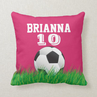 Personalized Soccer Football Ball Pink Pillow Throw Pillows