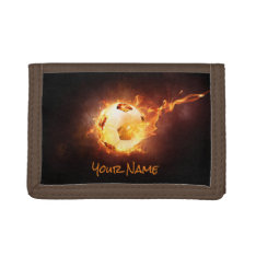 Personalized Soccer, Football, Ball Under Fire Trifold Wallet at Zazzle