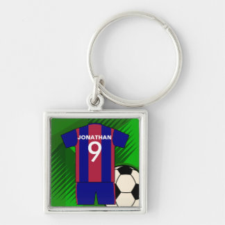 Personalized Soccer football Jersey Silver-Colored Square Keychain