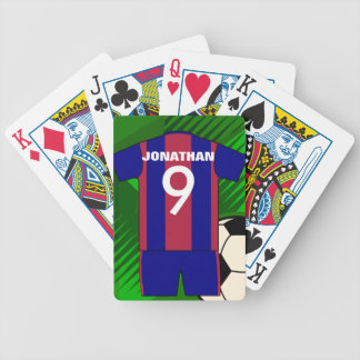 Personalized soccer jersey and ball bicycle playing cards