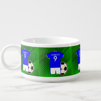 Personalized Soccer Jersey Blue and White Bowl