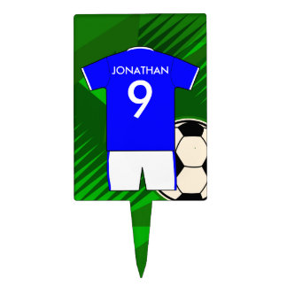 Personalized Soccer Jersey Blue and White Cake Topper