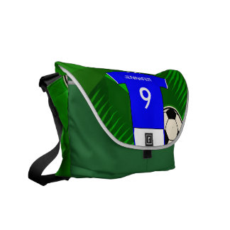 Personalized Soccer Jersey Blue and White Courier Bag