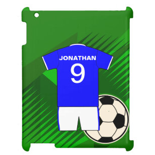 Personalized Soccer Jersey Blue and White Cover For The iPad 3d00d7823