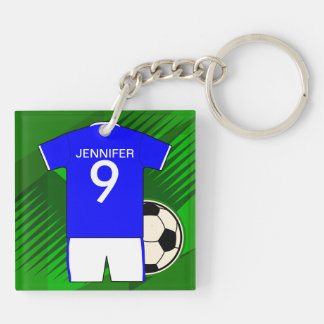 Personalized Soccer Jersey Blue and White Double-Sided Square Acrylic Keychain
