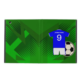 Personalized Soccer Jersey Blue and White iPad Folio Case