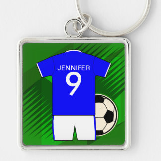 Personalized Soccer Jersey Blue and White Silver-Colored Square Keychain
