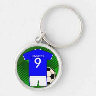 Personalized Soccer Jersey Blue and White Silver-Colored Round Keychain