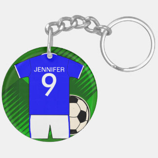 Personalized Soccer Jersey Blue and White Double-Sided Round Acrylic Keychain