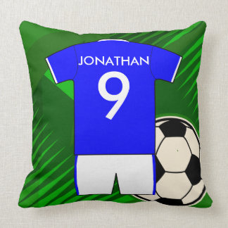 Personalized Soccer Jersey Blue and White Pillow