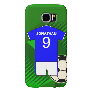 Personalized Soccer Jersey Blue and White Samsung Galaxy S6 Case