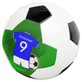 Personalized Soccer Jersey Blue and White Soccer Ball