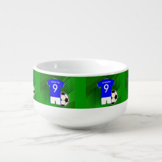 Personalized Soccer Jersey Blue and White Soup Mug