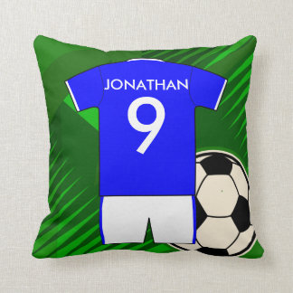 Personalized Soccer Jersey Blue and White Throw Pillow