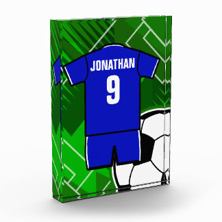 Personalized Soccer Jersey Blue with White Award
