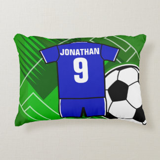 Personalized Soccer Jersey Blue with White Decorative Pillow