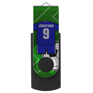 Personalized Soccer Jersey Blue with White Flash Drive