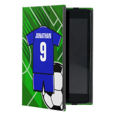 Personalized Soccer Jersey Blue with White iPad Mini Covers at Zazzle