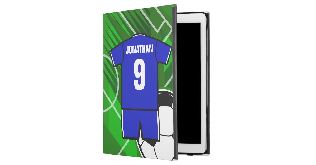 Personalized Soccer Jersey Blue with White iPad Pro 12.9