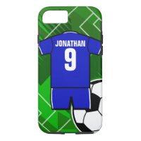 Personalized Soccer Jersey Blue with White iPhone 7 Case