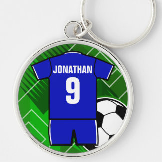 Personalized Soccer Jersey Blue with White Keychain