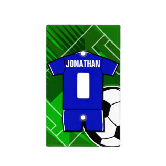 Personalized Soccer Jersey Blue with White Light Switch Cover