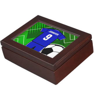 Personalized Soccer Jersey Blue with White Memory Box