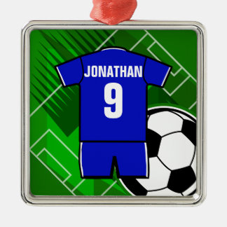 Personalized Soccer Jersey Blue with White Metal Ornament