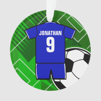 Personalized Soccer Jersey Blue with White Ornament