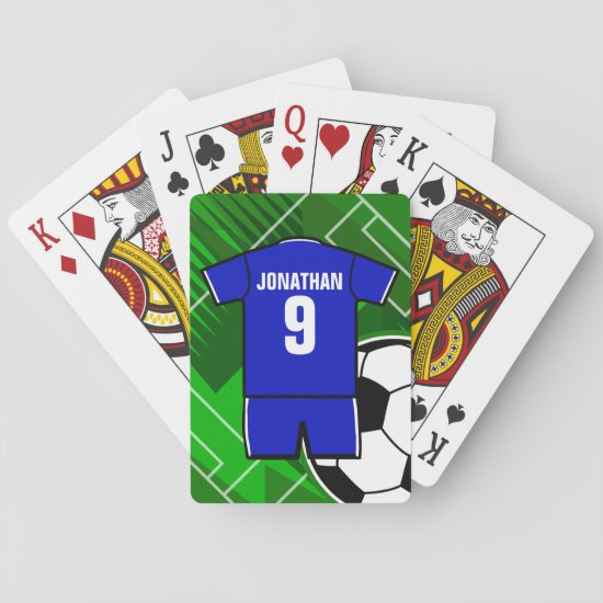 Personalized Soccer Jersey Blue with White Playing Cards