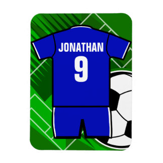 Personalized Soccer Jersey Blue with White Rectangular Photo Magnet