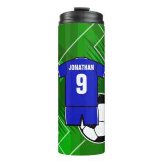 Personalized Soccer Jersey Blue with White Thermal Tumbler