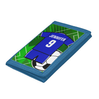 Personalized Soccer Jersey Blue with White Tri-fold Wallet
