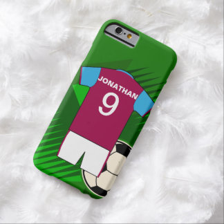 Personalized Soccer Jersey Claret and Blue Barely There iPhone 6 Case