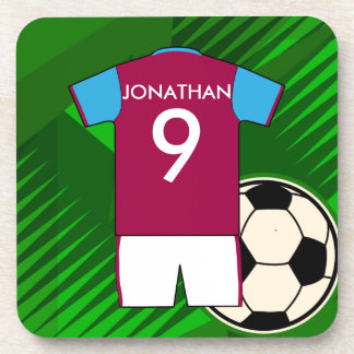Personalized Soccer Jersey Claret and Blue Coaster