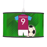 Personalized Soccer Jersey Claret and Blue Pendant Lamp