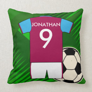 Personalized Soccer Jersey Claret and Blue Pillow