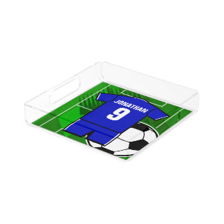 Personalized Soccer Jersey name and number blue Square Serving Trays