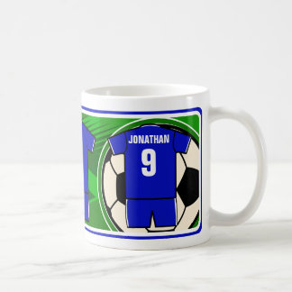 Personalized Soccer Jersey name and number blue Coffee Mug