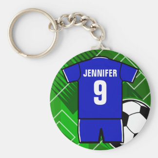 Personalized Soccer Jersey name and number blue Keychains