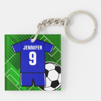 Personalized Soccer Jersey name and number blue Square Acrylic Keychain
