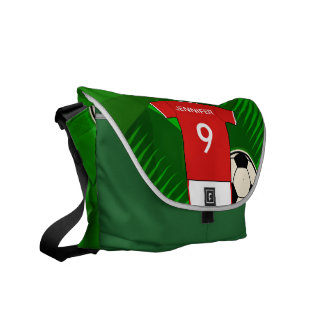 Personalized Soccer Jersey Red and White Courier Bag
