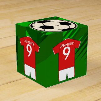 Personalized Soccer Jersey Red and White Favor Box