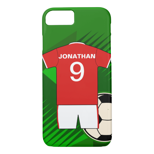 Personalized Soccer Jersey Red and White iPhone 7 Case