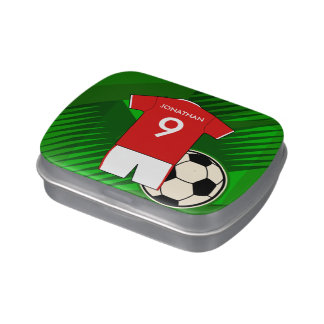 Personalized Soccer Jersey Red and White Jelly Belly Tin