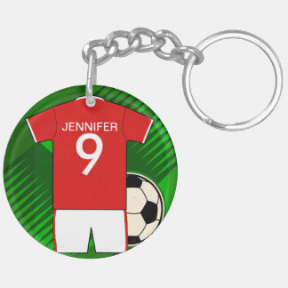 Personalized Soccer Jersey Red and White Double-Sided Round Acrylic Keychain