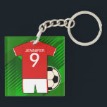 """Personalized Soccer Jersey Red and White Keychain<br><div class=""""desc"""">We can create this design in any color combination for your own soccer team colors, just use the contact us via our GiftsBonanza store with your request. A great gift for any budding soccer football star, sports fan or keen soccer supporter featuring a red and white soccer jersey with your...</div>"""