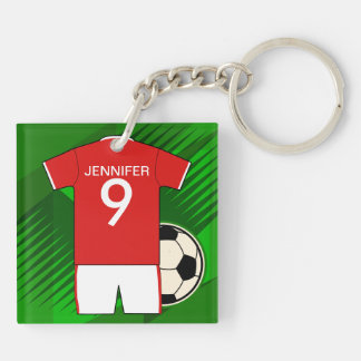 Personalized Soccer Jersey Red and White Double-Sided Square Acrylic Keychain
