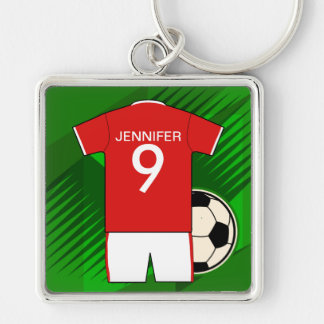 Personalized Soccer Jersey Red and White Silver-Colored Square Keychain